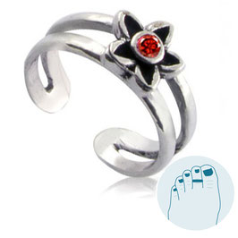 Silver Toe Ring Estee Red