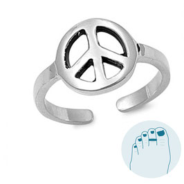 Silver Toe Ring Peace Sign