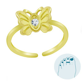 Zilveren Teenring Lovely Butterfly Gold