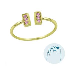 Zilveren Teenring Loretta Pink Gold