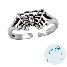 Silver Toe Ring Morfo Butterfly