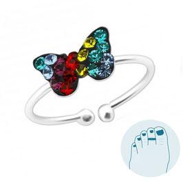 Zilveren Teenring Shiny Butterfly
