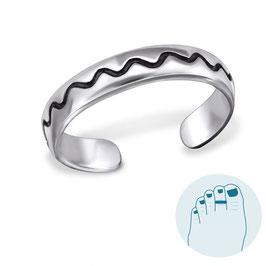 Silver Toe Ring Wavy