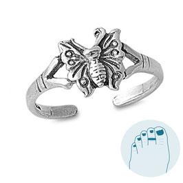 Zilveren Teenring Mariposa