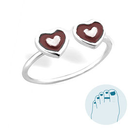 Silver Toe Ring Red Hearts