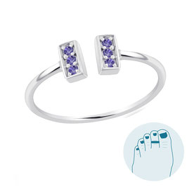 Silver Toe Ring Loretta Purple