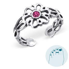 Silver Toe Ring Victorian Flower Pink