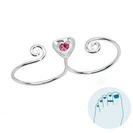 Double Silver Toe Ring Pink Heart