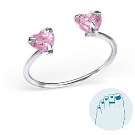 Silver Toe Ring Pink Hearts