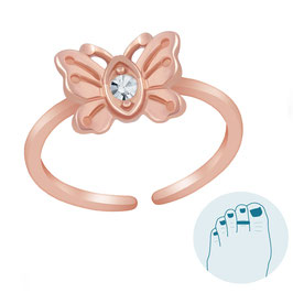 Silver Toe Ring Lovely Butterfly Rosegold