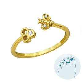 Silver Toe Ring Honeybee Gold