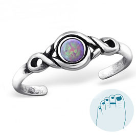 Silver Toe Ring Opal Pink