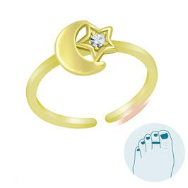 Zilveren Teenring Moon and Shiny Star Gold