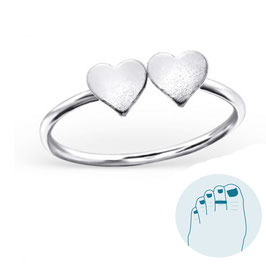 Silver Toe Ring Double Love