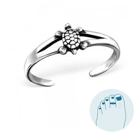 Silver Toe Ring Turtle