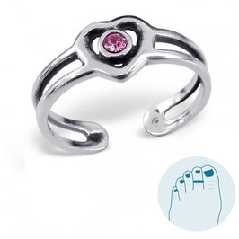 Silver Toe Ring Pink Heart