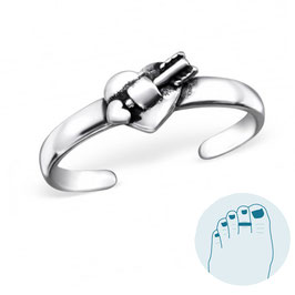 Silver Toe Ring Heart and Arrow
