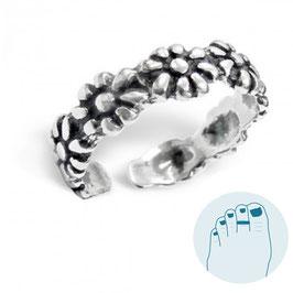Silver Toe Ring Les Fleurs