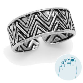 Silver Toe Ring Zigzag