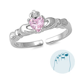 Silver Toe Ring Pink Claddagh