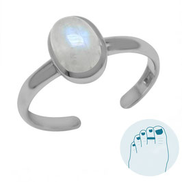 Silver Toe Ring Moonstone
