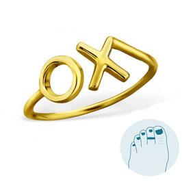 Zilveren Teenring XO Gold