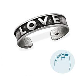 Zilveren Teenring LOVE