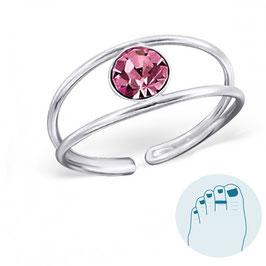 Silver Toe Ring Debrah Pink