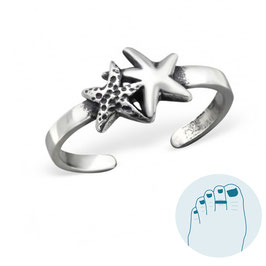 Silver Toe Ring Two Starfishes