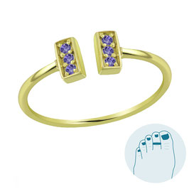 Zilveren Teenring Loretta Purple Gold