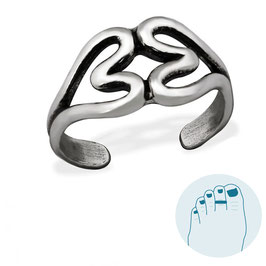 Silver Toe Ring Double Hearts
