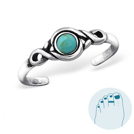 Silver Toe Ring Turquoise Oasis
