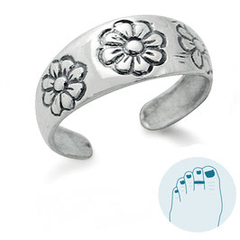 Silver Toe Ring Three Flowers