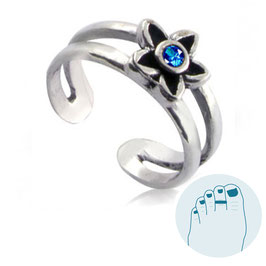 Silver Toe Ring Estee Blue