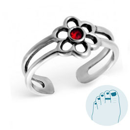 Silver Toe Ring Red Flower
