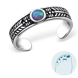 Silver Toe Ring Opal Multi Lavender