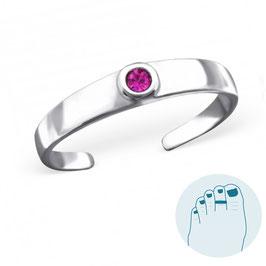 Silver Toe Ring Sophia Fuchsia