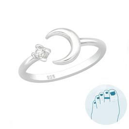 Silver Toe Ring Moon and Star