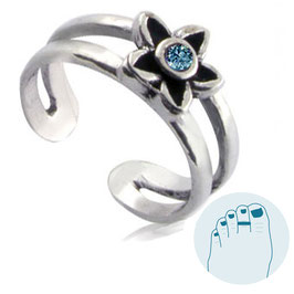 Silver Toe Ring Estee Lighblue