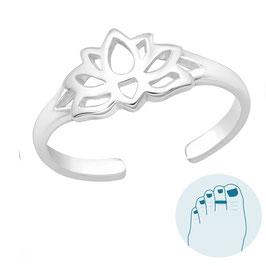 Silver Toe Ring Lotus Flower