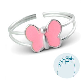 Zilveren Teenring Papillon Rose