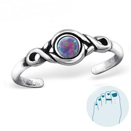 Silver Toe Ring Multi-Colored Opal