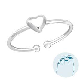 Zilveren Teenring Lovely Heart
