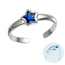 Zilveren Teenring Blue Star