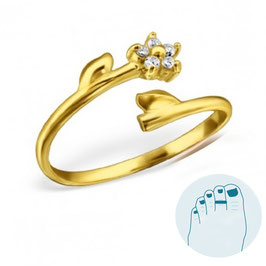 Silver Toe Ring Amilia Gold