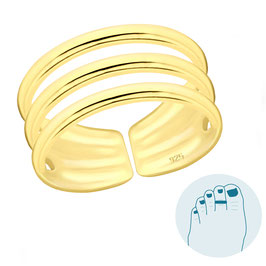 Silver Toe Ring Trois Gold