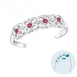 Silver Toe Ring Reese Pink
