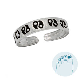 Silver Toe Ring Yin and Yang