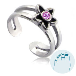 Silver Toe Ring Estee Pink