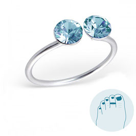 Silver Toe Ring Double Blue